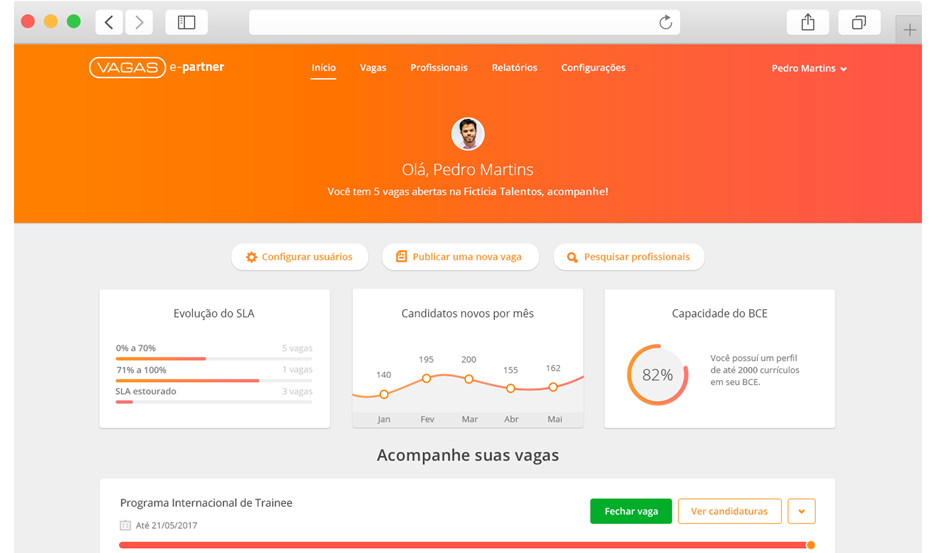 Print do dashboard do VAGAS e-partner