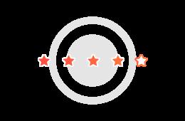 Ilustração de cinco estrelas, uma ao lado da outra, formando uma avaliação