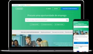 Foto de um notebook e um celular abertos na tela inicial do VAGAS.com.br