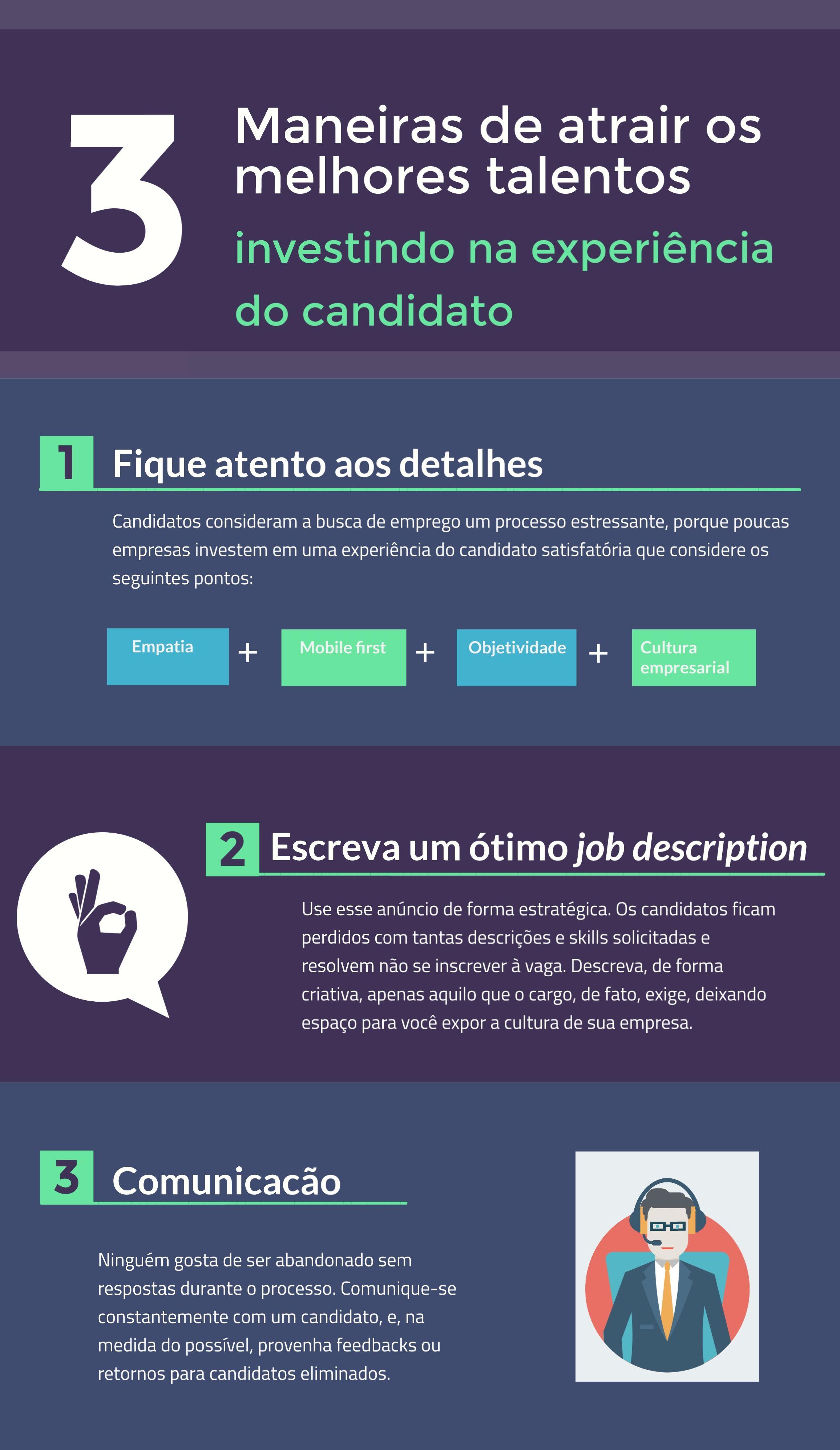 Infográfico descreve três maneiras de atrair os melhores talentos investindo na experiência do candidato