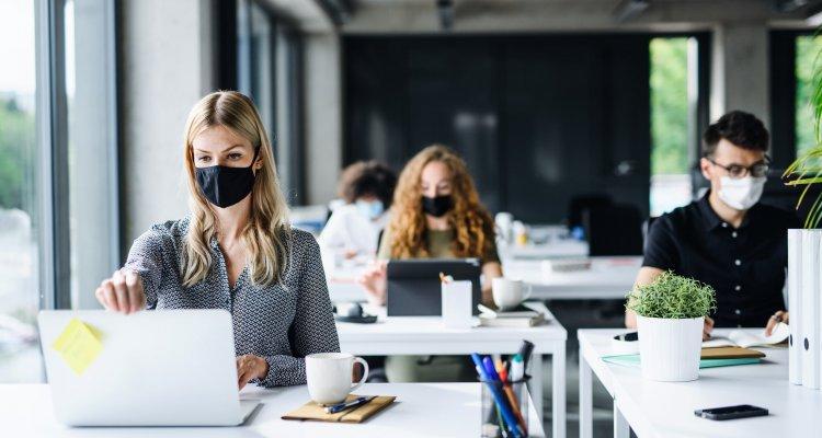 executivos em suas mesas de escritórios, todos estão usando máscaras