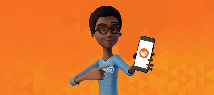 Imagem de personagem negra com camiseta azul e logotipo da VAGAS segurando um celular e apontando para ele