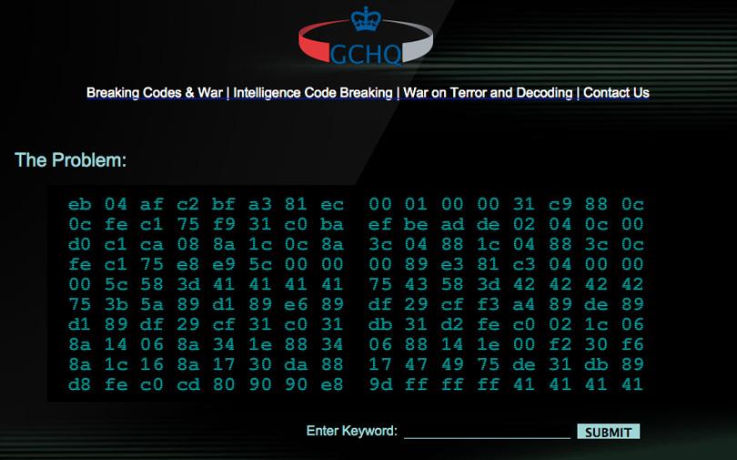 Print da tela de um site com fundo preto e diversos códigos binários de letras e números para decifrar.