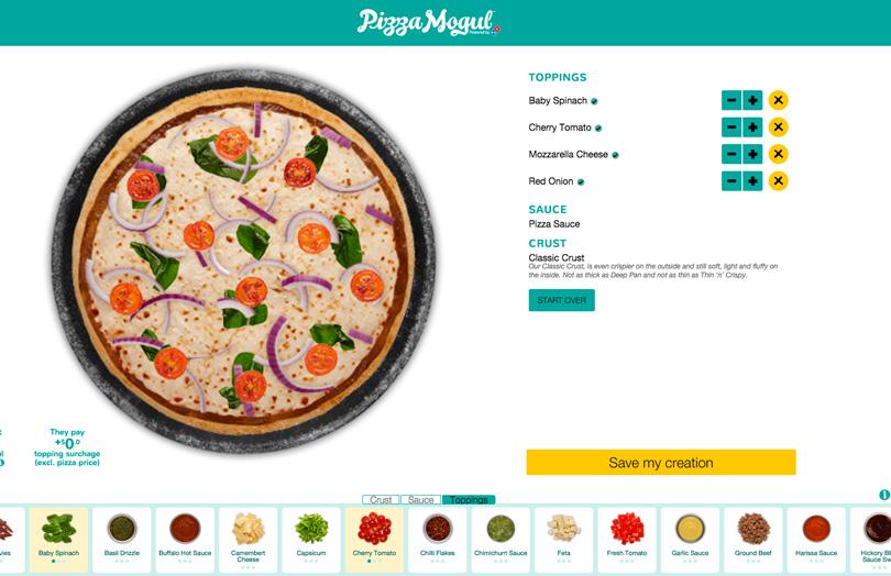 Print da tela do site Dominus Pizza Mogul, com uma pizza e opções de coberturas para ela.